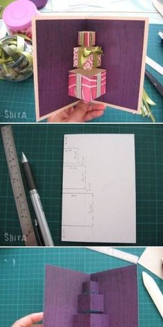 Pop-up kaart cadeautjes Pop Up, Scrapbook Cards, Origami, Office Supplies, Wraps, Notebook, Gift Wrapping, Christmas, Gifts