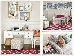 Real Simple Home Office | Ballard Designs Grey pattern couch  Macau chair