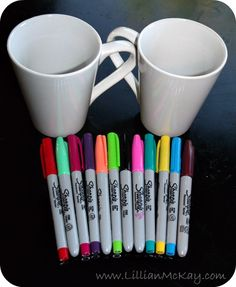 DIY Coffee Mugs = 4 store mugs + sharpies + oven (350 for 30 mins) you can do this with plates too!