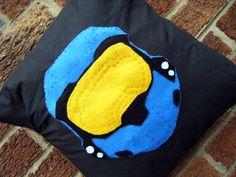 blue team halo helmet spartan hero video game pillow cushion gift