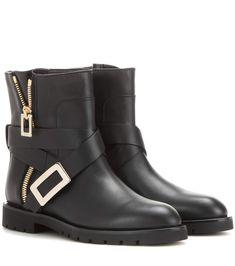 ROGER VIVIER Biker Zip Leather Ankle Boots. #rogervivier #shoes #boots