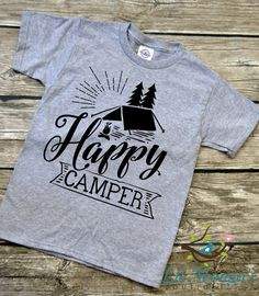 Happy Camper Youth Vinyl Graphic Tee T-Shirt by LilMongosBoutique
