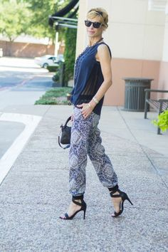"""""""CHIC AT EVERY AGE"""" PRINT TRACK PANTS Parachute Pants, Harem Pants, Chic, Track, Age, Outfits, Fashion, Shabby Chic, Moda"""
