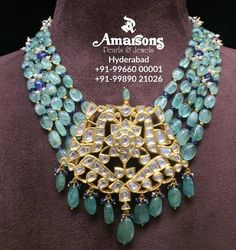 Emerald Mala with Polki Pendant at Amarsons jewellery . Stunning gold necklace studded with poki and emerald hangings.For More Info Whatsapp on : 00001 Indian Jewelry Sets, India Jewelry, Gold Jewellery Design, Bead Jewellery, Bridal Jewellery, Emerald Jewelry, Gold Jewelry, Antique Jewelry, Schmuck Design