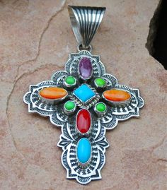 Navajo Solid Sterling Silver Cross Pendant- Orange and Purple Spiny Oyster Shell, Red Coral, Gaspeite and Sleeping Beauty Turquoise by Albert Jake