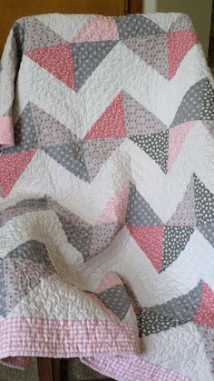 Pink and Gray Chevron Lap/Baby Quilt by KarmensQuilts on Etsy, $85.00