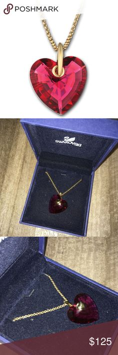 Swarovski Heart Bordeaux Pendant Gold necklace The elegance and beauty of Swarovski designs are presented in this Bordeaux crystal heart on a gold-plated chain. The perfect romantic gift!  With a warm glow of red, this heart pendant is quite an eye-catcher. A symmetric-cut crystal shines through on both sides. This makes the pendant, which comes with a gold-plated chain, reversible and versatile. This pendant comes on a chain. This product comes complete with a branded Swarovski blue box…