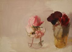 Rosas de Invierno, Winter Roses - Antonio López Garcia Spanish, 4 plates of photopolymers stamped with 19 colors on paper x 51 cm; Art Floral, Flowers In Vase Painting, Spanish Painters, Vintage Artwork, Contemporary Paintings, Landscape Paintings, Floral Paintings, Still Life, Modern Art