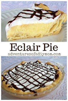 Eclair Pie - a yummy pie version of the classic eclair dessert.You can find Dessert pie recipes and more on our website.Eclair Pie - a yummy. Eclairs, Köstliche Desserts, Dessert Recipes, French Desserts, Plated Desserts, Cheesecake Recipes, Turtle Cheesecake, Homemade Cheesecake, Cheesecake Bars