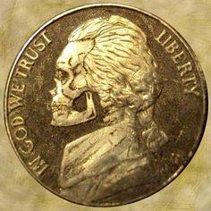 DOUG J. LARSON HOBO NICKEL - SKULL - NO DATE JEFFERSON NICKEL - LARSON'S FIRST COIN CARVING Hobo Nickel, One Coin, Trust, Coins, Carving, Rooms, Wood Carvings, Sculptures, Printmaking