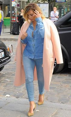 Pink Is Trending. Kim Kardashian in Cream Pink Coat, Street Style Spring Summer 2014 Paris
