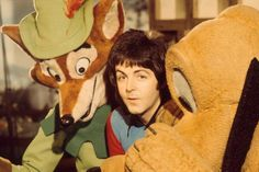 Paul with Disney characters Robin Hood and Pluto, November 1973