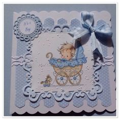 New Baby Boy Card Hand crafted and coloured Sylvia Zet Image.