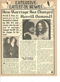 Donny Osmond and the Osmond Brothers, Full Page Vintage Clipping, Osmonds