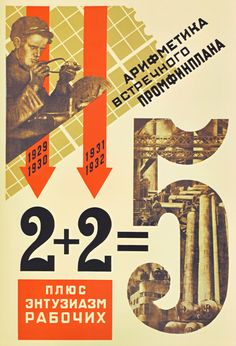 """Arithmetic of a counter-plan plus the enthusiasm of the workers."""" Propaganda poster supporting the first five year plan. Web Design, Graphic Design, Alexander Rodchenko, Industrial Artwork, Russian Constructivism, Propaganda Art, Soviet Art, Vintage Typography, Arithmetic"""