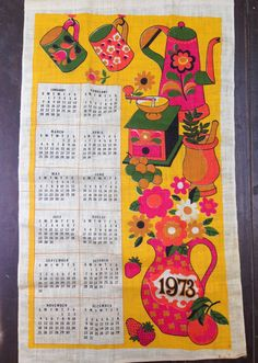 vintage 1973 calendar linen tea towel, neon colors, flower vase, strawberries NEVER USED by MotherMuse on Etsy