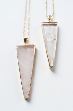 Obsessing over these quartz and gold necklaces.
