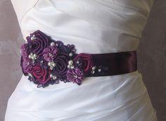 Purple Bridal Sash Eggplant Berry Wedding Belt by TheRedMagnolia, $118.00