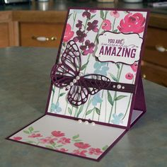 Mother's Day or Birthday easel card using Stampin' Up Painted Petals & Painted Blooms dsp