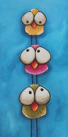 "Original acrylic painting fine art canvas whimsical birds tower 12 x 24"" #Whimsicalfolkart"
