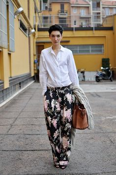 White shirt, fresh, floral pants.