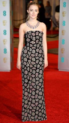 Saoirse Ronan in embroidered Burberry gown and Chopard jewelry - BAFTA 2016