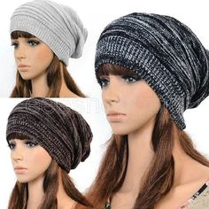 Hot Fashion Women Ladies Unisex Winter Knit Plicate Slouch Cap Hat Knitted Skullies Beanies Casual Ski 3 colors
