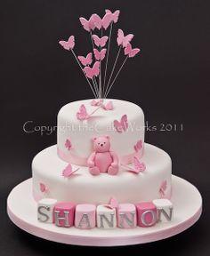 Pink Christening with bear, Baptism, Baptism cake, Cake Works, CakeWorks, Christening, Christening cake, Co. Durham, Darlington, Darlington Cakes, Naming Day, theCakeWorks