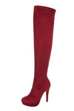 Burgundy Suede Look High Heel Over Knee Boots. Everyday Dresses, Over The Knee Boots, Heeled Boots, Burgundy, High Heels, Clothes For Women, Chic, Lady, Stuff To Buy