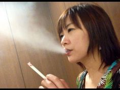 Sweet noisy Japanese girl smoking - YouTube