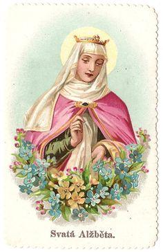 St. Elizabeth with Flowers Antique Vintage by 12StarsVintage