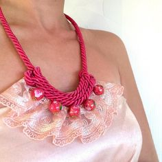 Lace necklace http://ift.tt/1X11jtb #lace #pink #peach #pastel #floral #romantic #love #wave #rope #satin #etsy #handmade #necklace #me #polyvore #sarakeyhandmade #mynecklace #Polyvore #Fashion #Style #REDValentino #RebeccaTaylor #CÃLINE