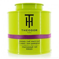 Theodor Grand The Raffine/Finest Tea Gardens Sans Doute tea tin .... lime green with bow front, purple band, black lettering, containing flavoured Chinese green tea, c. 2015, France