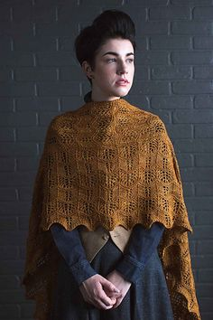 The Gold Rush Shawl pulls you in with its unusual shaping and a geometric stitch pattern worked in three directions. The wrap begins with a provisional cast-on and is worked from the center out for the side panel. Stitches are picked up along the side, and increases are worked to complete the shawl.