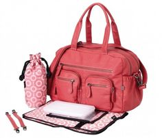 OiOi:Pink Faux Buffalo Carry All Diaper Bag (6569)