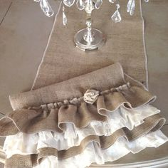 Burlap Ruffled Table Runner with Lace and by ShabbieChicHome Farmhouse Table Runners, Burlap Table Runners, Burlap Lace, Lace Ruffle, Handmade Table, Burlap Crafts, Shabby Chic Decor, Linen Fabric, Fabric Flowers