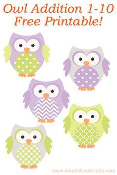 Kindergarten Math: Owl Addition 1-10 - free printable!
