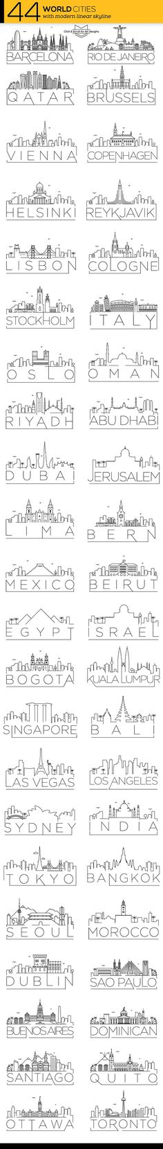 44 Different World Cities Skyline by Avny on @creativemarket