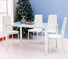 Merax Glass Top Dining Set 4 Person Dining Table and Chairs Set Kitchen Modern Furniture Dining Dinette White -- Check out the image by visiting the link-affiliate link. Cheap Dining Sets, Kitchen Dining Sets, 5 Piece Dining Set, Kitchen Tables, Table Seating, Dining Table Chairs, Dining Room Furniture, Modern Furniture, Contemporary Dining Room Sets
