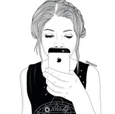 Image de girl, outline, and iphone