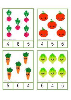 Manipulativos ABN tarjetas conteo con verduras 1-6 -Orientacion Andujar Kindergarten Math Worksheets, Tracing Worksheets, Worksheets For Kids, 4 Year Old Activities, Toddler Activities, Preschool Activities, Preschool Prep, Preschool Writing, Math For Kids