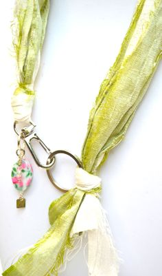 Short Necklaces : Green White Silk Ribbons -Flowers Necklace. Get it @ www.freeartstyle.com Short Necklace, Flower Necklace, Tassel Necklace, Necklaces, White Silk, Silk Ribbon, Ribbons, Detail, Green