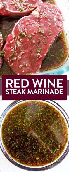 Easy and simple red wine steak marinade with soy sauce, garlic, sesame oil. This gluten free marinade recipe is easy and perfect for grilling steak on the BBQ. Steak Marinade Recipes, Meat Marinade, Grilled Steak Recipes, Grilling Recipes, Meat Recipes, Dinner Recipes, Cooking Recipes, Healthy Recipes, Grilled Steaks