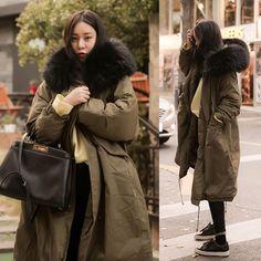 06743550e34 Hirsionsan Winter Coat Women Large Fur Collar Hooded Long Jacket Thicken  Warm Korean Padded Parkas 2017 Oversized Military Parka
