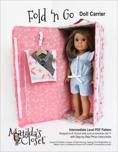 Sew your own Fold 'n Go Doll Carrier for 18-inch dolls such as American Girl™. Folds flat for storage. Download and print the PDF pattern from ClubMatilda.com.