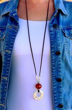 Leather Necklace, Boho Necklace, Leather Jewelry, Beaded Jewelry, Silver Jewelry, Silver Ring, Glass Jewelry, Gold Jewellery, Boho Jewelry