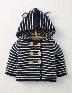 Ecru Marl/Navy Stripe Boys Knitted Jacket Boden