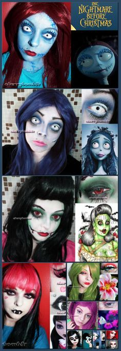 Halloween makeup Sally Nightmare Before Christmas by cherrybomb-81 on deviantART [Collage made with one click using http://pagecollage.com] #pagecollage