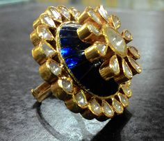 A cocktail ring to go with your blue lagoon Gold Jewelry Simple, White Gold Jewelry, Traditional Indian Jewellery, Indian Jewelry, Flower Jewellery For Haldi, Gold Ring Designs, Indiana, Wedding Jewelry, Jewelry Collection
