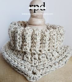 The Cara Cowl - Crochet Pattern by Rescued Paw Designs. Make this beautiful and cozy cowl with just 2 skeins of Lion Brand Wool-Ease Thick & Quick (pictured in oatmeal) and a 9mm crochet hook. Free pattern!